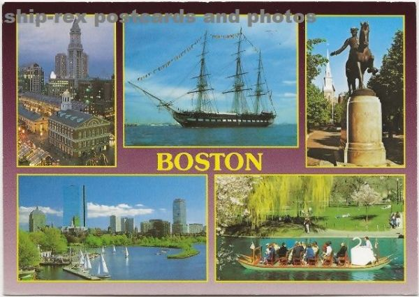 CONSTITUTION (1797) and Swan Boat on Boston multi-view postcard